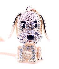 Collana pendente ciondolo cane cucciolo in cristallo 3D oro molto carino