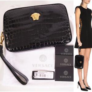 NEW $895 VERSACE Black Croc Embossed Leather GOLD MEDUSA LOGO Wristlet BAG NWT