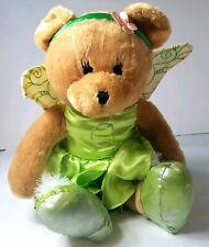 Disney Plush Bear Fairy Green Outfit Wings Flower Head Band Stuffed Animal Toy