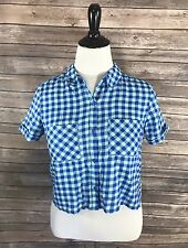 SO Womens Top Size Medium Blue Check Button Down Cropped Short Sleeve Shirt