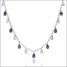 Sterling Silver Necklace with CZ Teardrop Briolette Amethyst Purple #90024
