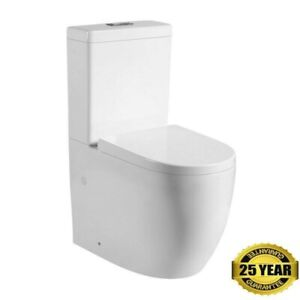 New Back to wall Close Coupled WC Toilet Swirl Flush + Free Soft Closing Seat