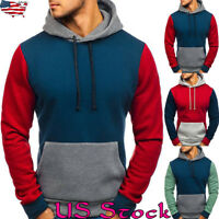 Mens Stylish Color Block Tops Hoodies Pullover Long Sleeve Outrwear Sweatshirts