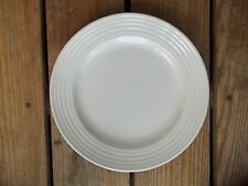 Vintage WHITE Stoneware Dinner Plate Made in China 10-3/8 Dia. Ribbed