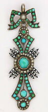 0.70cts Rose Cut Diamond Pearl Turquoise Emerald Victorian 925 Silver Pendant