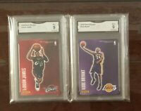 LeBron James & Kobe Bryant 2009 Panini Decals Stickers GMA 9, not PSA or BGS 9