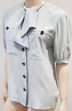 AKRIS Pale Mint Green 100% Silk Tie Neckline Short Sleeve Blouse Shirt Top CH36