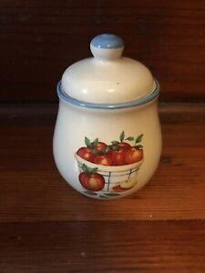 ATICO INTERNATIONAL Sugar Bowl Blue Trim Apples In Bushel Basket