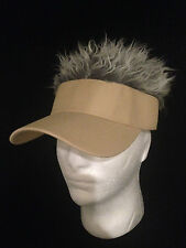 FLAIR HAIR HATS WITH HAIR KHAKI VISOR GREY HAIR QUALITY SURF SKATE GOLF PARTY