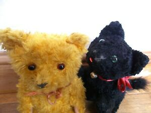 VINTAGE~ANTIQUE~STRAW FILLED TOYS~BEST PALS~TEDDY BEAR & KITTY CAT~GLASS EYES