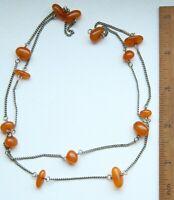 Vintage Amber Genuine Baltic Multi Color Egg Yolk Beads Necklace 9.9 g 波羅的海琥珀