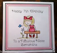Handmade Personalised Birthday Card ANY AGE Girls Daughter Sister Niece Friend