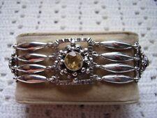PERUZZI FLORENCE , bracciale elementi rettangolari metà 900 argento 800 citrini