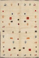 Tribal Ivory Geometric Gabbeh Area Rug Wool Hand-Knotted Oriental Carpet 4x6 New