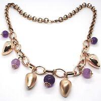 Collar Plata 925 ,Rosa, Amatista Violeta, Guindilla Domed Colgantes