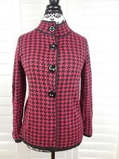 Belford Houndstooth Prima Cotton Cardigan Womens Small Red Black Top Jacket