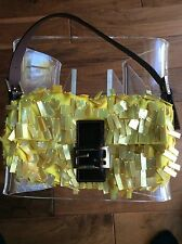 FENDI Yellow Baguette Purse Handbag Unique Sequin