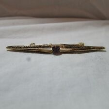 Elegant Vintage Etched Gold Tone Metal Purple Rhinestone Bar Pin Brooch