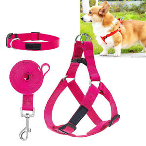 Soft Fabric Dog Step-in Harness Puppy Pet Adj Collar and Lead Clip Leash Set