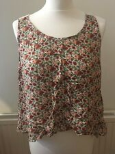Forever 21 Floral Flowers Vest Cami With Lace Back Detail And Open Back Size Med