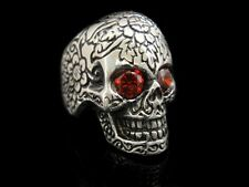 Handmade JAPAN Red CZ Eyes Silver Goth SKULL Ring for Harley Davidson Biker Tr58