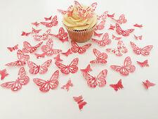 48 Edible Raspberry Heaven Butterflies Pre Cut Wafer Cupcake Toppers