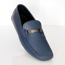 Versace Collection Men's Moccasins Navy Blue Leather Loafers Sz 9.5