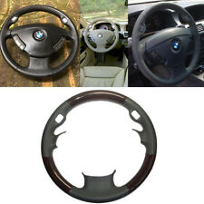 Grey Leather Wood Steering Wheel Cover 02-08 BMW 3-Spokes E65 E66 7 735 745 760