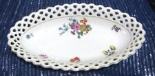 China pierced trinket dish floral pattern marked Foreign 7 x 4 ins