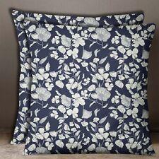 Decorative Blue Floral Print Cushion Cover Cotton Poplin Square Pillow Case