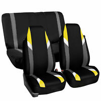 Highback Universal Seat Cover Full Set For Auto SUV Car Van Yellow Black