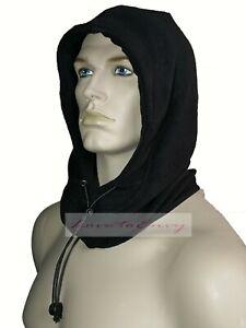 Mens Fleece Neck Warmer Hoody Black Thermal Snood Style Balaclava Face Scarf