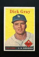 1958 Topps BB Card #146 Dick Gray Los Angeles Dodgers ROOKIE NM-MT OR BETTER