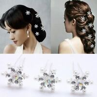 Snowflake Bridal Headwear Pearl Flower Crystal Rhinestone Hair Pin Hair Clips