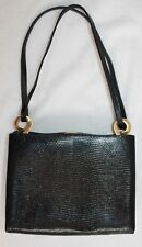 DE VECCHI BY HAMILTON HODGE FRAMED BLACK LIZARD TOTE OR SHOULDER BAG