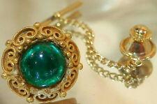 Nice Ornate Shp Signed Vintage 60's Green Glass Tie Clip 488Jl6