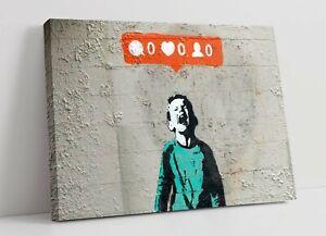 "BANKSY ""NO SOCIAL MEDIA"" -CANVAS WALL ART PICTURE PRINT- GRAFFITI STREETART"