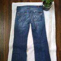 7 For All Mankind 7FAM Sz 27 Medium Wash Dojo Blue Denim Jeans Flare Wide Leg