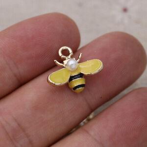 10PCS Enamel Flying Bee Charm Pendant Jewelry Making Bracelet Earrings DIY Craft