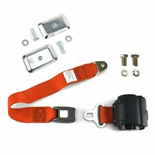 2pt Orange Standard Buckle Retractable Lap Seat Belt w/ Flat Plate Hardware rat