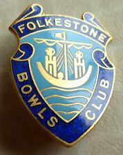 FOLKSTONE BOWLS CLUB - ENAMEL BADGE