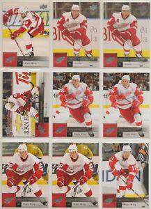 DETROIT RED WINGS ~ 2009-10 Upper Deck Series 2 TEAM SET / LOT ~ 9 Hockey Cards