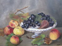 Old Original Oil Painting Still Life Of Fruit and a vase signed D. E. Dee