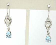 18k White Gold 3.26ctw Pear Aquamarine Oval & Round Diamond Drop Dangle Earrings