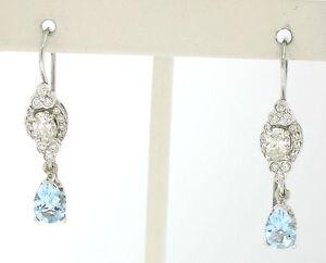 18k White Gold 3.26ctw Pear Aquamarine Oval & Round Diamond Drop Dangle Earrings