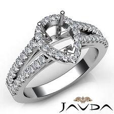 Halo Prong Set Pear Cut Diamond Semi Mount Engagement Ring 14k White Gold 0.75Ct