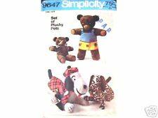 S 9647 OOP Cute Pattern for Dressed Bears and Dogs