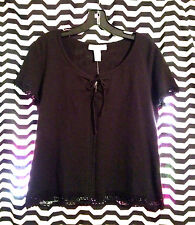 NEW NWT $98 REAL CLOTHES SAKS FIFTH AVENUE BLACK CROCHET TOP SHIRT FITS S-M