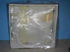"8"" Square Satin Ring Pillow Cream ribbon, white satin"