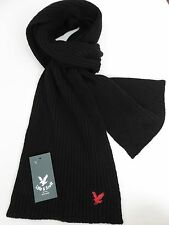 Lyle & and Scott mens scarf black ribbed red eagle wool woollen NEW